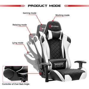 Devoko Pioneer Series Gaming Chair (White) - Furniwell