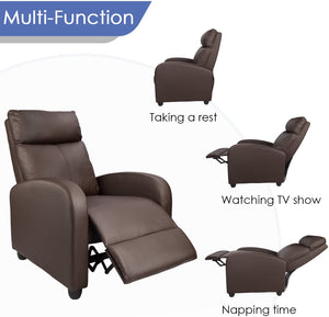 Homall Massage Recliner Single Chair Padded Seat Black PU Leather Living Room Sofa Modern Home Theater Seating