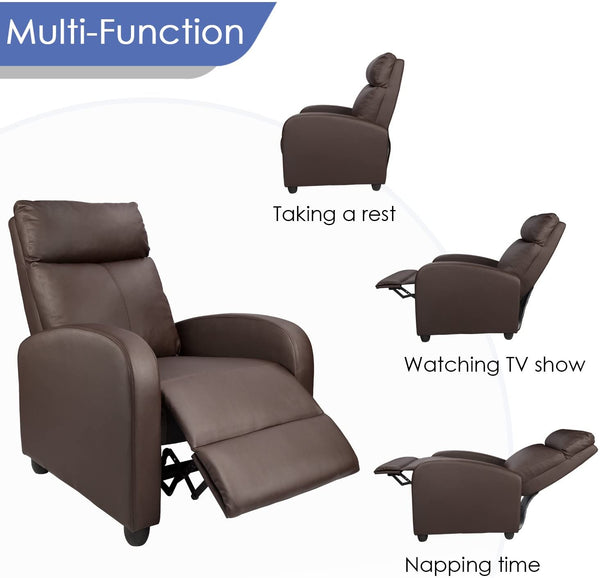 Furniwell Recliner Chair Massage Single Sofa Chair Padded Seat PU Leather Living Room Sofa Small Recliner Home Theater Seating