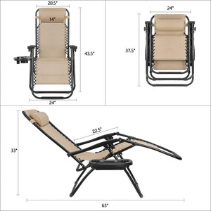Furniwell 2 Pieces Zero Gravity Chair Patio Folding Lawn Lounge Chairs Outdoor Lounge Gravity Chair Camp Reclining Lounge Chair with Pillows