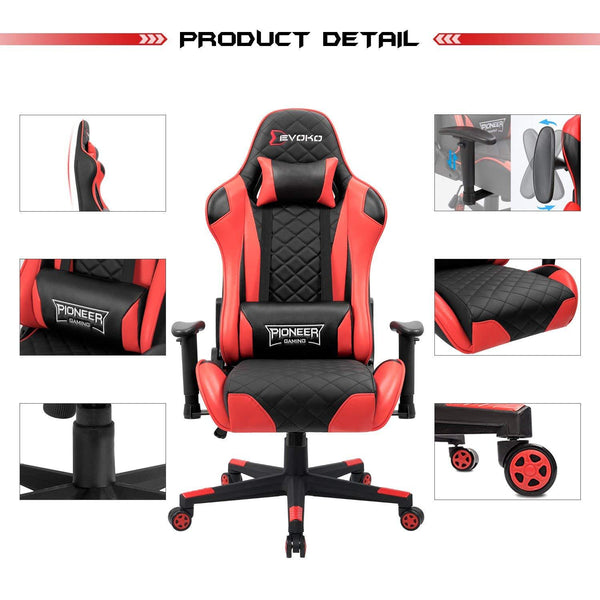 Devoko Pioneer Series Gaming Chair Racing Style Height Adjustable with Headrest and Lumbar Support