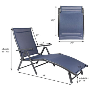 Furniwell Patio Lounge Chairs Adjustable Chaise Lounge Chairs Folding Outdoor Recliners Set of 2 for Beach, Pool and Yard