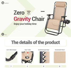 Furniwell Zero Gravity Chairs Outdoor Folding Recliners Adjustable Lawn Patio Lounge Chair with Side Table and Cup Holders for Poolside, Yard, Camping