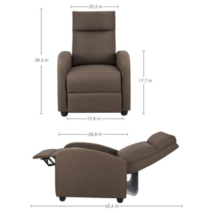 Furniwell Fabric Recliner Chair Adjustable Home Theater Seating Single Recliner Sofa with Thick Seat Cushion and Backrest Modern Living Room Recliners