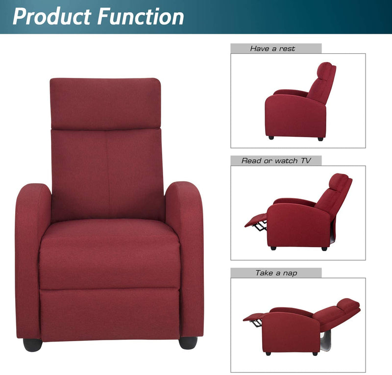 Furniwell Fabric Recliner Chair Adjustable Modern Home Theater Seating Single Recliner Sofa Living Room Armrest Chair With Thick Cushion