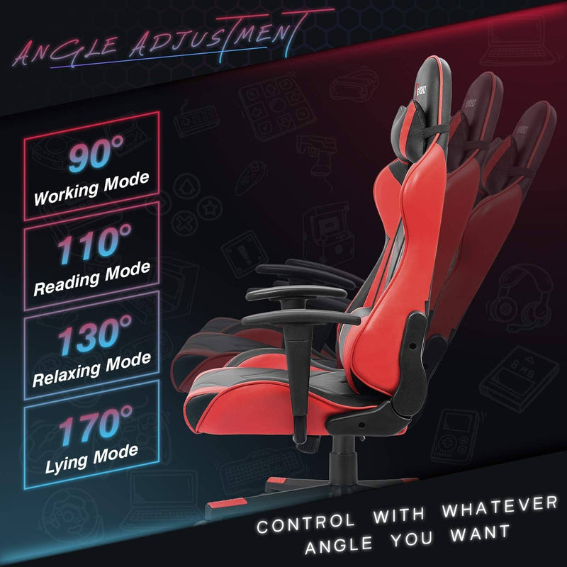 Furniwell Ergonomic Gaming Chair Racing Style Adjustable Height High-Back PC Computer Chair with Headrest and Lumbar Support Office Chair