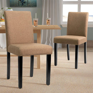 Furniwell Dining Chairs Urban Style Fabric Parson Chairs Kitchen Living Room Armless Side Chair with Solid Wood Legs Set of 4