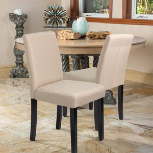 Furniwell Set of 4 Modern Fabirc Upholstered Dining Chairs with Wood Legs