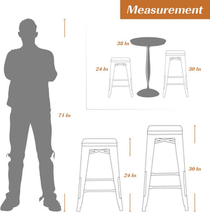 Furmax 24 Inches Metal Bar Stools High Backless Indoor-Outdoor Counter Height Stackable Stools Set of 4, Multiple Color