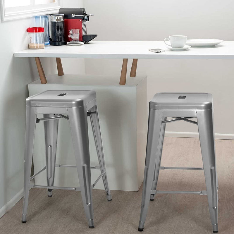 Furniwell 24 Inches Metal Bar Stools High Backless Indoor-Outdoor Counter Height Stackable Stools Set of 4