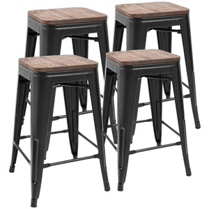 Furmax Metal Bar Stool 24'' Indoor Outdoor Stackable  Modern Square Wood Top  Set of 4, Multiple Color