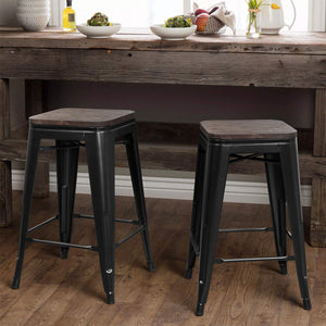 Furniwell Metal Bar Stool 24'' Indoor Outdoor Stackable  Modern Square Wood Top  Set of 4