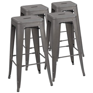 Furmax 30 Inches Metal Bar Stools High Backless Stools Indoor-Outdoor Stackable Kitchen Stools Set of 4, Multiple Color