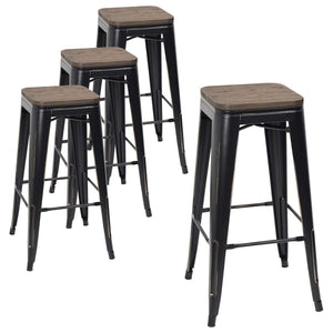 Furmax Metal Bar Stool 30'' Indoor Outdoor Stackable Barstools Modern Industrial Square Wood Top Bar Stools Set of 4 (Black Gold)