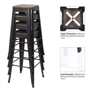 Furniwell Metal Bar Stool 30'' Indoor Outdoor Stackable Barstools Modern Industrial Square Wood Top Bar Stools Set of 4 (Black Gold)