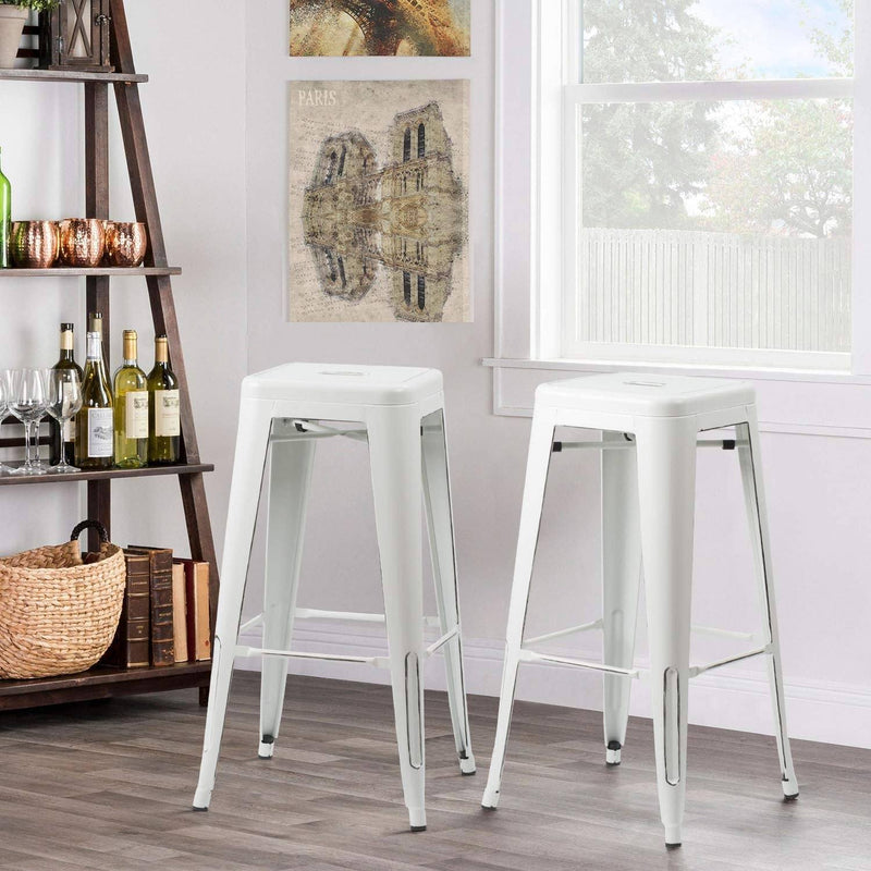 Furniwell 30 Inches Metal Bar Stools High Backless Stools Indoor-Outdoor Stackable Kitchen Stools Set of 4