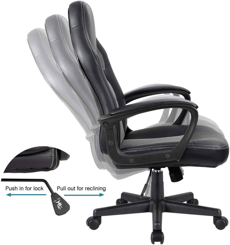 Furniwell Gaming Chair Leather Office Desk Chair High Back Ergonomic Adjustable Swivel Executive Computer Chair Rolling Task