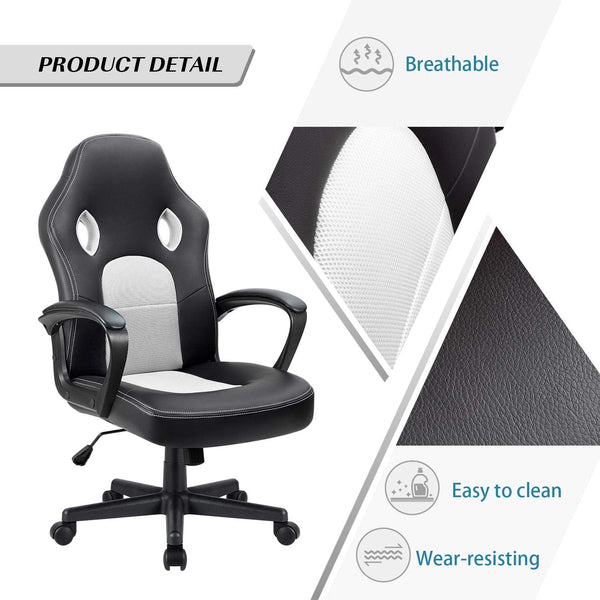 Furniwell Office Chair Leather Desk Chair High Back Ergonomic Adjustable Racing Gaming Chair Swivel Executive Computer Chair Rolling Task
