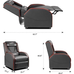 Furmax Gaming Recliner Chair Racing Style Single Ergonomic Lounge Sofa PU Leather Reclining Home Theater Seat for Living Room