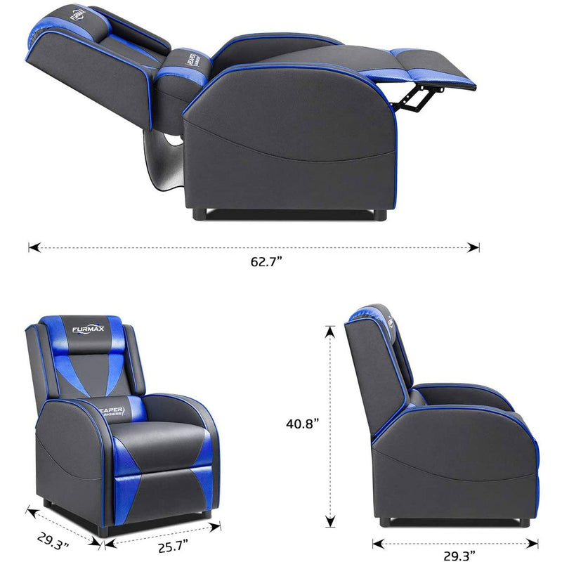 Furniwell Gaming Recliner Chair Racing Style Single Ergonomic Lounge Sofa PU Leather Reclining Home Theater Seat for Living Room