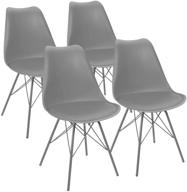 Furniwell Kitchen Dining Chair with Soft Padded Mid Century Shell Side Chair Armless Tulip Chair Set of 4