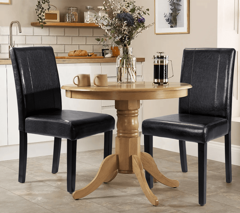 Furniwell Dining Chair PU Leather Living Room Chairs Modern Kitchen Armless Side Chair with Solid Wood Legs Set of 4