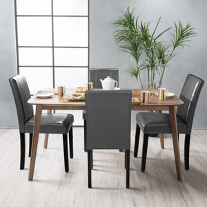 Furniwell Set of 4 Urban Style PU Leather Dining Chairs with Wood Legs