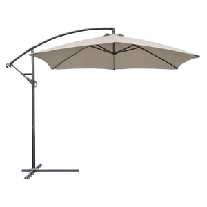 Furniwell 10-Foot Patio Offset Cantilever Umbrella Outdoor Market Hanging Umbrellas with Crank & Cross Base for Garden, Backyard, Deck and Poolside