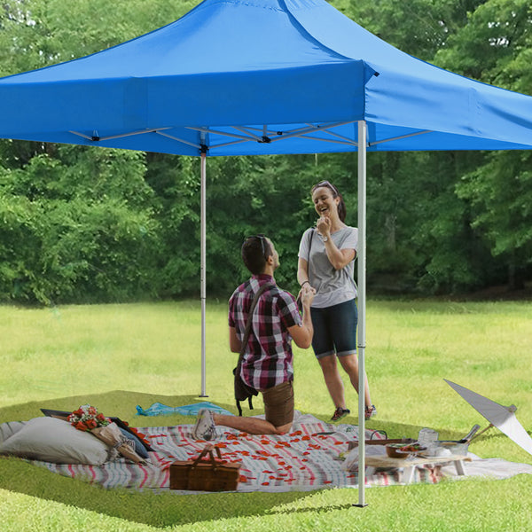 Furniwell 10X10 FT Ez Up Canopy Outdoor Pop Up Canopy Tent Commercial Instant Shelter Patio Sun Shade Canopies with Roller Bag, 4 Canopy Sand Bags
