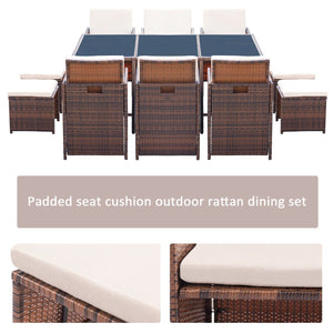 Furniwell 11 Pieces Patio Furniture Dining Set Wicker Rattan Chairs Outdoor Furniture Cushioned Tempered Glass W/Ottoman Brown ( PE Rattan)