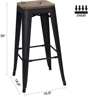 Furniwell Metal Bar Stool 30'' Indoor Outdoor Stackable Barstools Modern Industrial Square Wood Top Bar Stools Set of 4