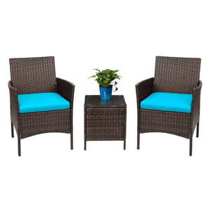 Furniwell Patio Furniture Bar Set Patio Chairs with Table Set Outdoor Furniture Cushioned Tempered Glass