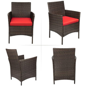 Furniwell 3 Pieces Patio Porch Furniture Sets PE Rattan Wicker Chairs with Table Outdoor Garden Furniture Sets