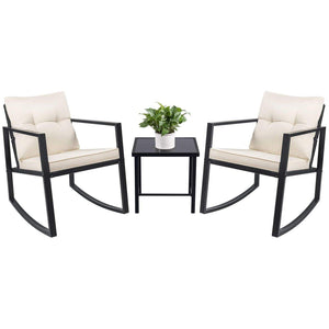Furniwell 3 Pieces Rocking Chair Bistro Set Wicker Patio Outdoor Furniture Porch Chairs Conversation Sets with Glass Coffee Table