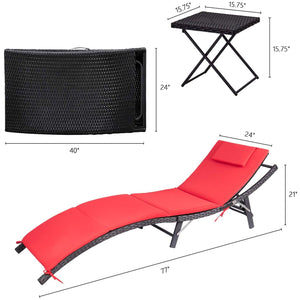 Furniwell Outdoor Lounge Chair Adjustable Patio Garden Poolside Furniture Set 3 Pieces