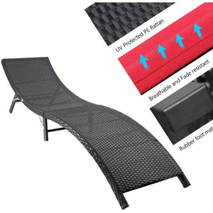 Furniwell 3 Pieces Patio Chaise Lounge with Cushions Unadjustable Outdoor Furniture Set Wicker Lounger Chair Folding Chaise Lounge with Folding Table