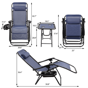 Furniwell 3 Pieces Zero Gravity Chair Patio Folding Recliner Outdoor Chaise Lounge Chairs Portable Reclining Chair Set with Side Table Cup Holders