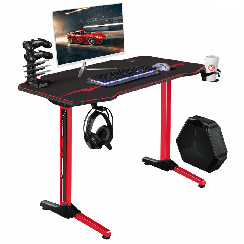 Furniwell 44 Inch T-Shaped Frame Computer Gaming Desk Carbon Fiber Surface Table With Mouse Pad, Gaming Handle Rack, Cup Holder & Headphone Hook