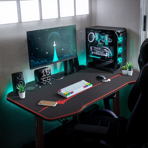 Furniwell 43.3 Inch T-Shaped Frame Computer Gaming Desk Carbon Fiber Surface Table With Mouse Pad, Gaming Handle Rack, Cup Holder & Headphone Hook