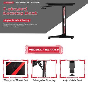 Furniwell 43 Inch T-Shaped Legs Computer Gaming Desk Carbon Fiber Surface Gaming Desk With Cup Holder & Headphone Hook