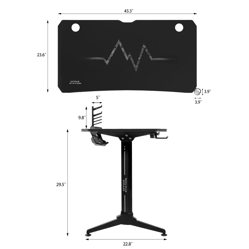 Furniwell Gaming Desk Y-Shaped Frame Gaming Table Modern Style Racing Computer Desk Gaming Station With Full Mouse Pad, Cup Holder And Headphone Hook