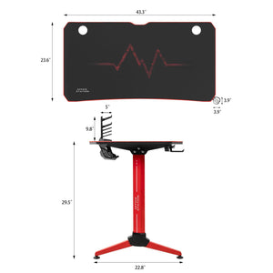 Furniwell 43 Inch Y-Shape Frame Gaming Desk Modern Style Racing Desk With Full Piece Of Mouse Pad, Cup Holder And Headphone Hook