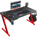 "Furniwell Gaming Desk 44"" Computer Table Office Desk Z Shaped PC Gaming Table Workstation with Carbon Fiber Surface Cup Holder & Headphone Hook"