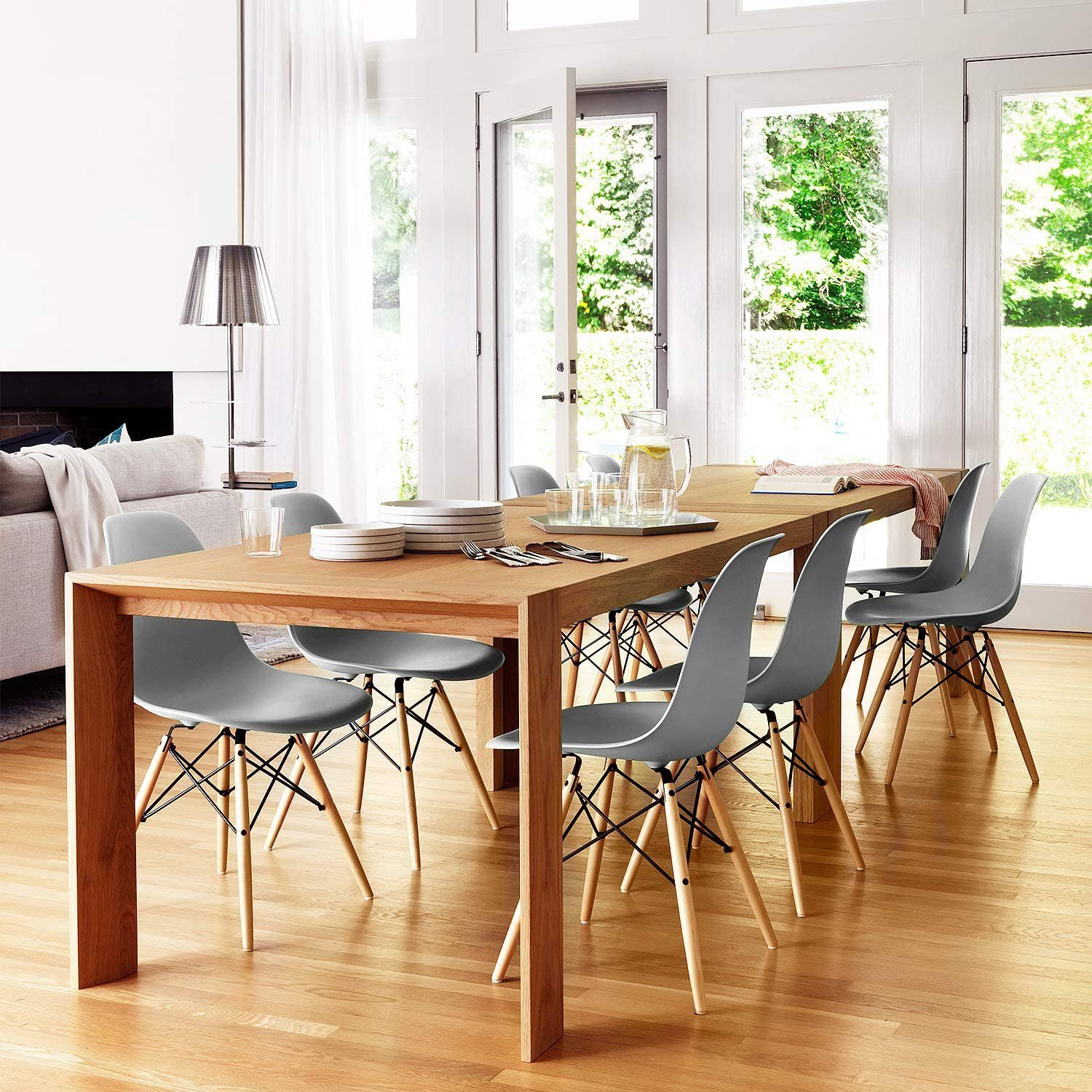 Furniwell 4 Pcs Dining Chairs Pre Assembled Modern Style Kitchen Room Chairs Mid Century Living Room Dsw Side Chair Set Of 4