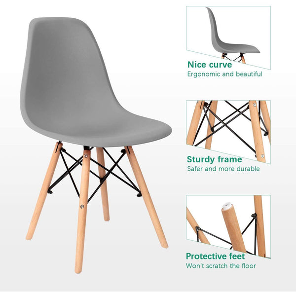 Furniwell Pre Assembled Modern Style Dining Chair Mid Century Modern DSW Chair Set of 4,for Kitchen, Dining, Bedroom, Living Room