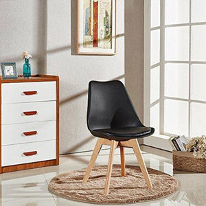 Furniwell Mid Century Modern DSW Dining Chair Upholstered Side with Beech Wood Legs and Soft Pad, Set of 4