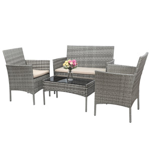 Furniwell 4 Pieces Outdoor Patio Furniture Sets Rattan Chair Wicker Set,Outdoor Indoor Use Backyard Porch Garden Poolside Balcony Furniture