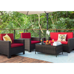 Furniwell 4 Pieces Outdoor Patio Furniture Sets Rattan Chair Wicker Conversation Sofa Set, Outdoor Indoor Poolside Backyard Porch Garden Balcony Use