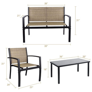 Furniwell 4 Pieces Patio Furniture Outdoor Patio Furniture Set Textilene Bistro Set Modern Conversation Set Bistro Set with Loveseat Table