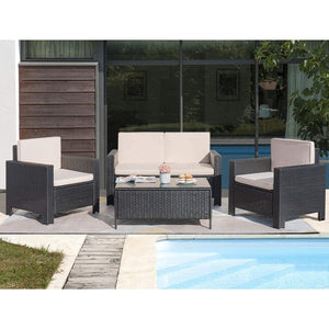 Furniwell 4 Pieces Patio Furniture Set Outdoor Furniture Set Rattan Conversation Sofa Set with Coffee Table for Garden Poolside Backyard Use (Black)